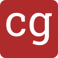 Dark red square with rounded edges and the initials C. G.